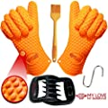 Silicone BBQ Gloves Pair 1 Meat Claw 1 BBQ Brush Strong Heat-Resistant Material Use for Barbecue Baking Cooking Boiling Potholder Smoking and More Great for Indoor & Outdoor E-Book + Hook for Gloves