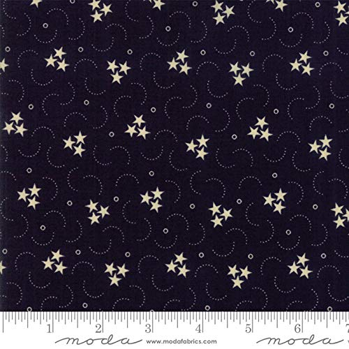 Primitive Gatherings, Star Stripe Gatherings, White Stars, Circular Design, Navy Blue Background, Moda, 1261-16, by The Yard