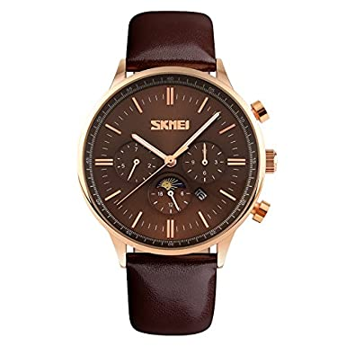 Amazon.com: SKMEI Mens Quartz Watch Relogio Masculino Fashion Casual Blue Genuine Leather Waterproof Mens Wristwatch Relojes: Watches