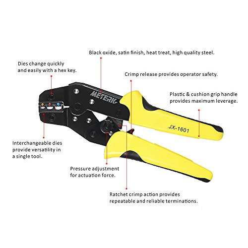Meterk Crimping Tool Wire Crimpers With Carbon Steel Support 0.1-6mm² Adjustable Crimping Range Comfort Grip Terminals Connectors Ratcheting by Meterk (Image #2)