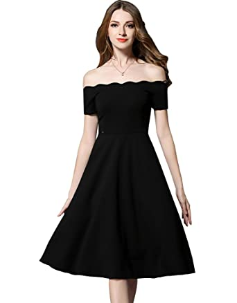 23fcce6f87013 Maycabin Women s Slim Strapless Wave Neckline Off Shoulder Black Long Dress  Size M Black