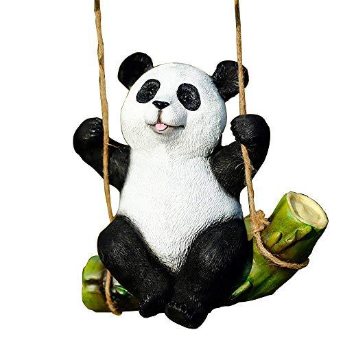 (Garden Statue Black and White Panda Swing On Bamboo Creative Tree Decoration Patio Yard Lawn House )
