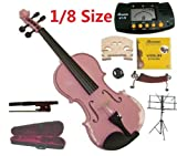 Merano 1/8 Size Pink Violin with Case and Bow+Extra Set of Strings, Extra Bridge, Shoulder Rest, Rosin, Metro Tuner, Black Music Stand, Mute