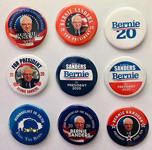 (Bernie Sanders For President 2020 Campaign Buttons Set of 9)