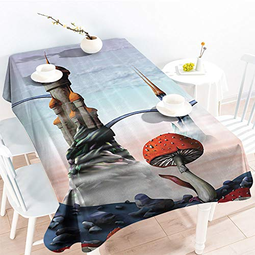 Spillproof Table Illustration of A Fantasy Castle Kingdom in an Alien World Science Fiction Fun ArtGarden Party TableclothMulti(52 by 70 Inch Oblong Rectangular)