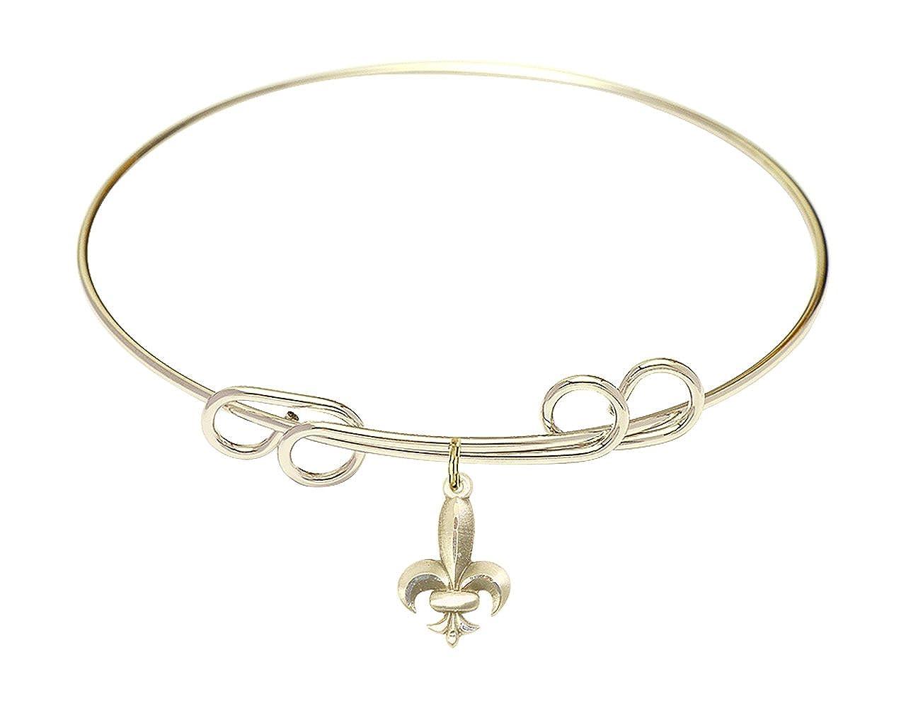DiamondJewelryNY Double Loop Bangle Bracelet with a Fleur de Lis Charm.