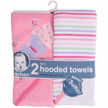 Amazon.com : Gerber Newborn Baby Girl Terry Hooded Bath Towel, 2-Pack : Baby
