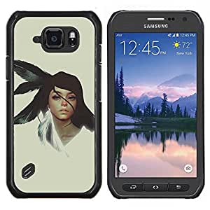 Jordan Colourful Shop - Native American Girl For Samsung Galaxy S6 active/G870A/G890A (Not Fit S6) Personalizado negro cubierta de la caja de pl????stico