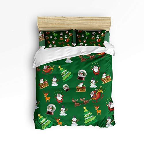 Prime Leader 4 Pcs Bedding Set Green Chrisrtmas Tree Crystal Ball Snowman Duvet Cover Set Ultra Soft Easy Care Sheet Quilt Sets Decorative Pillow Covers Children Kids Adults Queen Size -