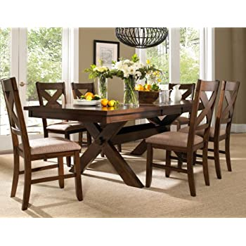 Roundhill Furniture Karven 7 Piece Solid Wood Dining Set With Table And 6  Chairs