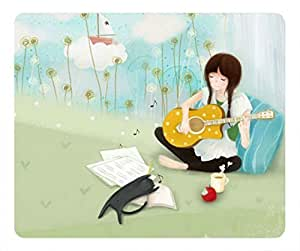 Cute girl playing guitar Masterpiece Limited Design Oblong Mouse Pad by Cases & Mousepads