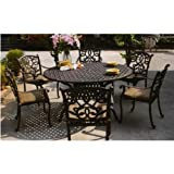Darlee Santa Monica Cast Aluminum Outdoor Patio Dining Set With Cushions - 60 Inch Round - Antique Bronze