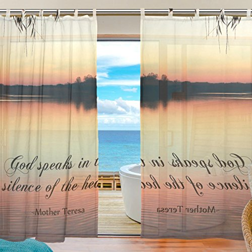 INGBAGS Bedroom Decor Living Room Decorations Serenity Quotes Pattern Print Tulle Polyester Door Window Gauze / Sheer Curtain Drape Two Panels Set 55x78 inch ,Set of 2