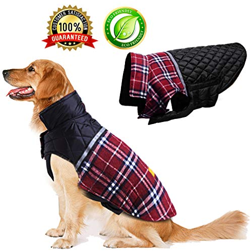 BESAZW Dog Clothes Dog Jacket Dog Coat Sweater Dog Jackets for Small Dogs Reversible Waterproof Warm Dog Winter Coat Cold Weather Coats Pets Apparel
