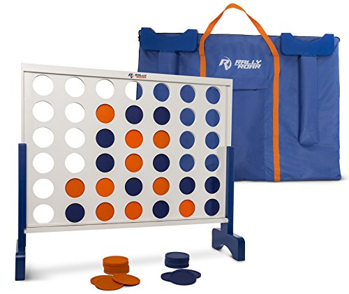 Giant 4 In A Row, 4 To Score - Premium Wooden Four Connect Game Set - Oversized Family Outdoor Party Games For Backyard, Lawn, Parties, Bar Game - Fun For Adults, Kids - Easy Set Up With Bag. by Rally & Roar