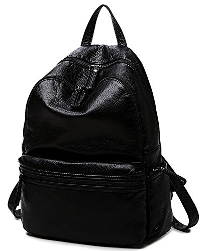 Black Mini Waterproof Backpack for Women PU Washed Leather travel School Backpack Small
