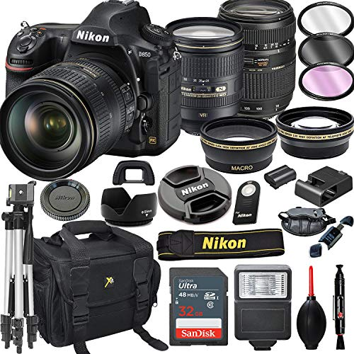 Nikon D850 DSLR Camera with 24-120mm VR + Tamron 70-300mm + 32GB Card, Tripod, Flash, and More (21pc Bundle)