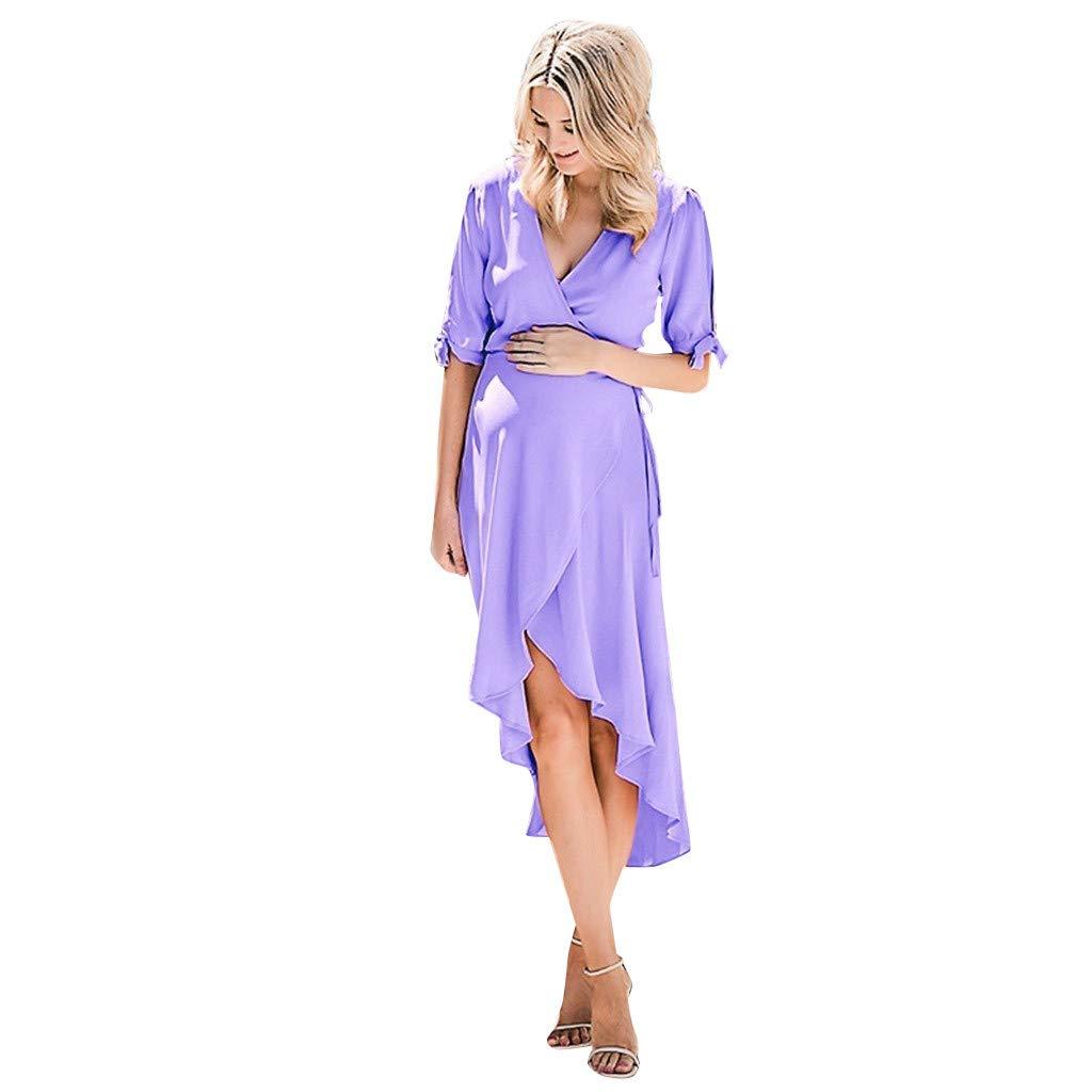 Women's Maternity Casual Maxi Dress Half Sleeve V-Neck Side Bow Tie Irregular Hem Casual Dress Purple