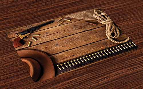 Lunarable Western Place Mats Set of 4 by, Cowboy Gun Belt and Vintage Rope Hat and Cigar on Rustic Wooden Planks Picture, Washable Placemats for Dining Room Kitchen Table Decoration, -