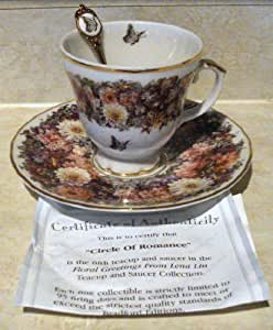 """Bradford Exchange - Floral Greetings From Lena Liu - """"Circle of Romance"""" Teacup and Saucer Collection"""