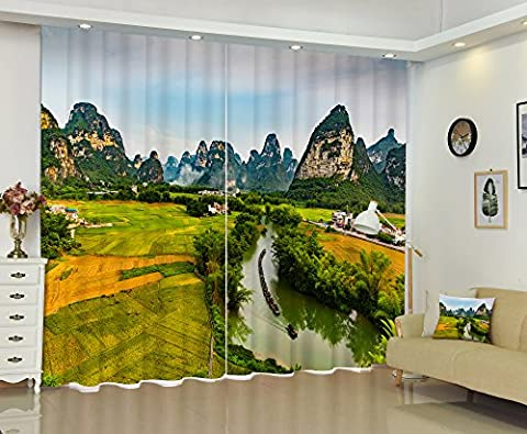 LB 2 Panels Room Darkening Blackout Curtains,A Green Field at the Foot of the Mountain 3D Effect Print Window Treatment Living Room Bedroom Window Drapes,80 Inch Width by 63 Inch - 439 Sheer