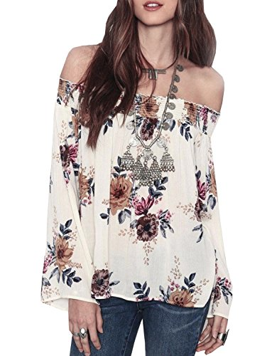New Sexy Chiffon - Womens Floral Off Shoulder Blouse Casual Shirt Bell Sleeves Cute Crop Top XXXL