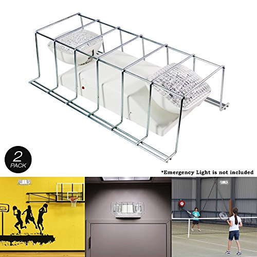 2 Pack Wire Guard Metal Cage Cover LED Exit Sign & Emergency Light Fixture 16