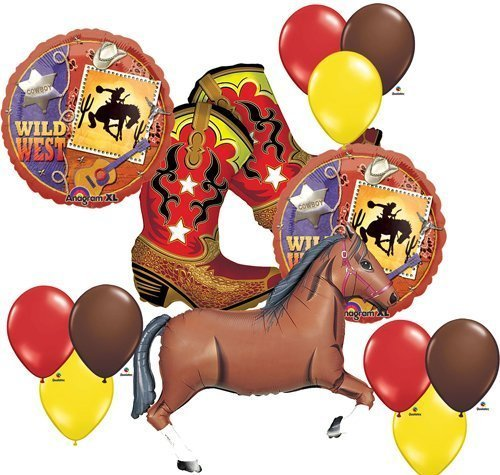 (Wild West Cowboy Boots Horse Party Supplies Balloons Decor )