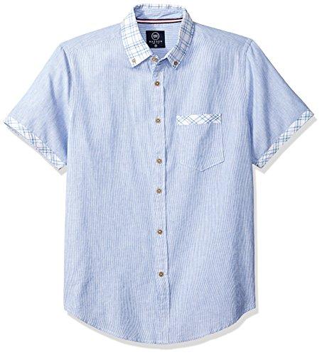 Cotton Brushed Mens Check - Badger Smith Men's Casual Cotton Linen Slim Fit Button Down Shirt M Blue Stripe