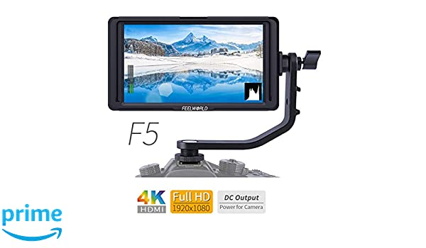 FEELWORLD F5 5 Inch 4K HDMI IPS 1920x1080 High Resolution On-Camera Field  Monitor with Histogram, Focus Assist, False Color, Zebra Exposure, Check