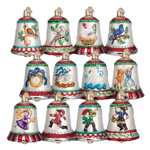 Old World Christmas 12 Days of Christmas Bells Blown Glass Ornaments Set of ()