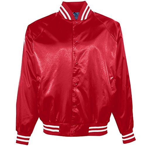 Augusta Sportswear 3610 Men's Satin Baseball Jacket/Striped Trim, Large, Red/White