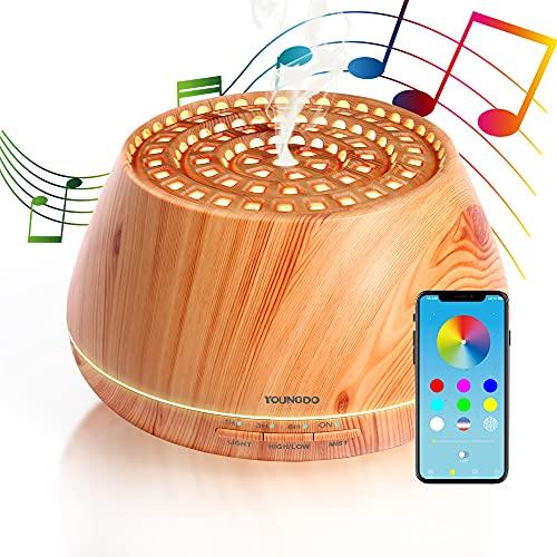 YOUNGDO Aroma Diffuser 400ml, 3 in1 APP-Steuerung Bluetooth Lautsprecher, Ultraschall Luftbefeuchter, Duftlampen, Ultra Leise Diffusor, Timer, BPA-frei & Mehrfarbige Lichter, für Haus, Büro, Yoga, Spa