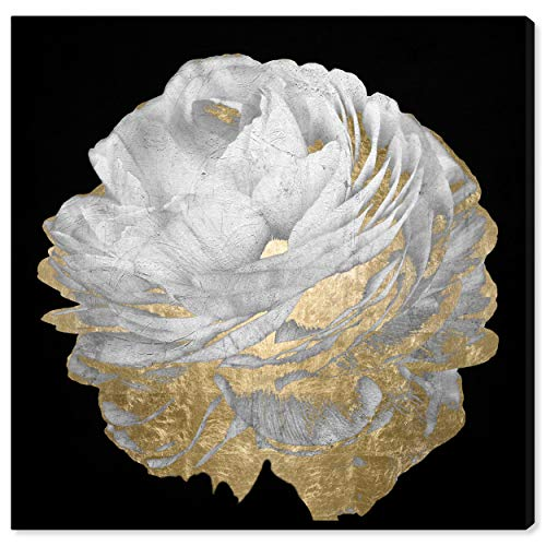 Aerial View Black, White and Gold Floral Canvas Print Wall Art, 24