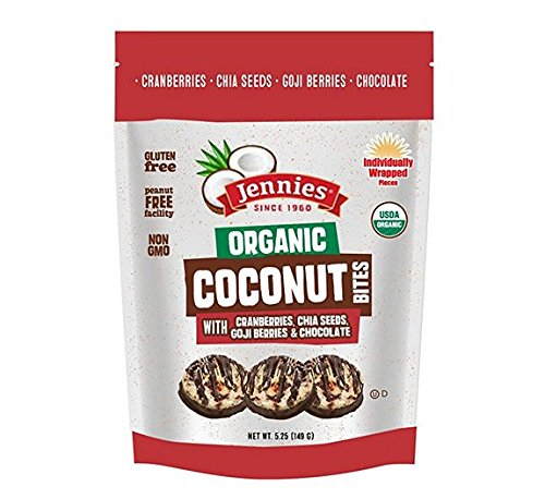 Jennies Organic Coconut Bites with Goji & Chia, 5.25oz Gluten Free, Non-GMO, Peanut Free, Kosher (2)