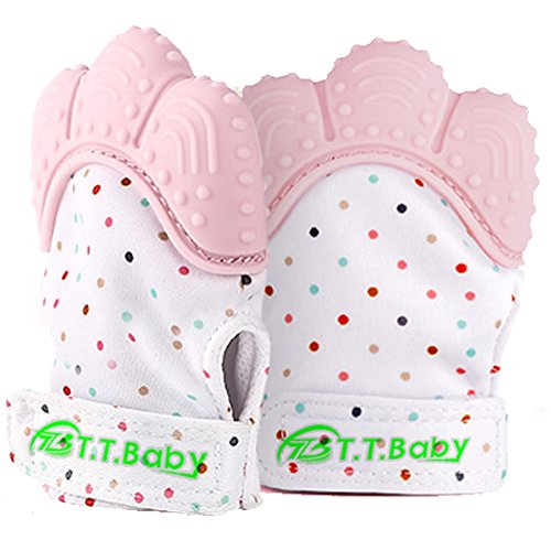 Baby Teething Mitten for Babies Self-Soothing Pain Relief and Teething Glove BPA FREE Safe Food Grade Teething Mitt (Pink Color)