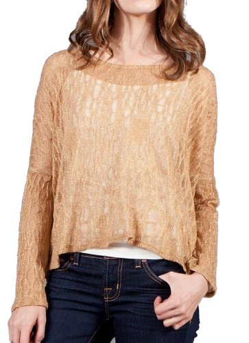 G2 Chic Women's Textured Lace Bell Sleeve Top(TOP-CAS,GLD-M)