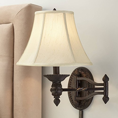 - Godia Bronze Oval Plug-in Swing Arm Wall Lamp - Barnes and Ivy