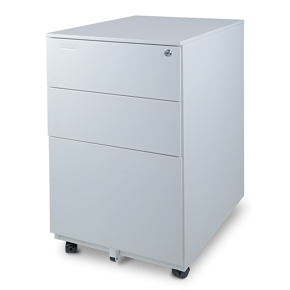 Aurora Modern SOHO Design 3-Drawer Metal Mobile File Cabinet with Lock Key Fully Assembled, White/Aqua Blue (FC-103BL)
