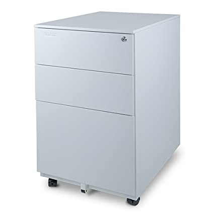 Aurora Modern SOHO Design 3 Drawer Metal Mobile File Cabinet With Lock Key  Fully Assembled