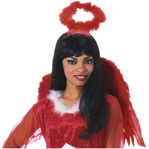 Marabou Halo Headband White/Black/Red Angel Fallen Dark Devil Cupid Costume (Red Cupid Wings Costume)