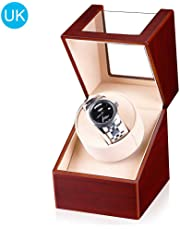 Perfuw Automatic Single Watch Winder, Winding Box with Quiet Motor and Wooden Shell, Rotating Watch Storage Display Case for 1 Watch - UK Plug