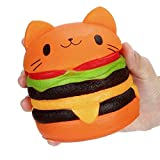 Slow Rising Squishy Toy Jumbo Toys Squeeze Toys Stress Relief Toys Decompression Burger Cat 1 Pack for Kids Adults