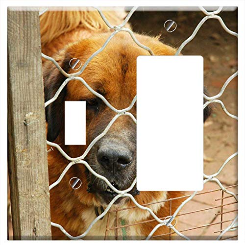 1-Toggle 1-Rocker/GFCI Combination Wall Plate Cover - Dog Animal Kennel Puppy Canine Domestic Mamma