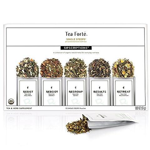 Tea Forte Sipscriptions Single Steeps 15 Pouches 3 of each blend (Sipscriptions) - Energy Gift Basket