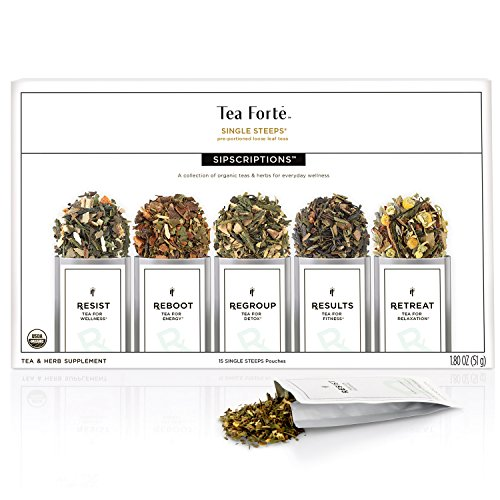 Tea Forte Sipscriptions Single Steeps 15 Pouches 3 of each blend (Sipscriptions)