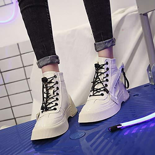 Zip Zip Zip 35 Strap Autunno Piattaforma Stivali Moda Piatta Piatta Piatta Piatta Top QPYC Donna Impermeabile White W Cross High Casual Nuova Scarpe 0ZTvxPgq