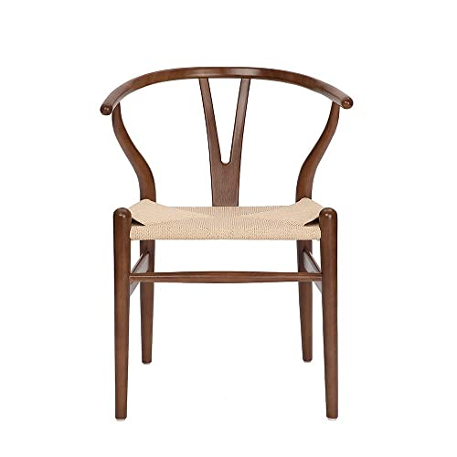 Tomile Wishbone Chair Y Chair Solid Wood Dining Chairs Rattan Armchair Natural Beech-Walnut