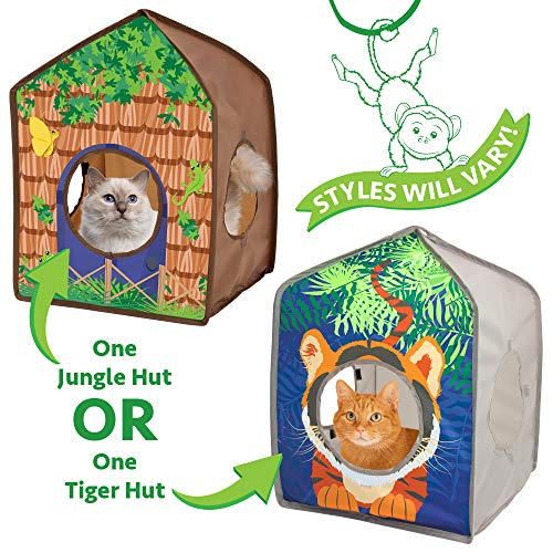 Kitty City Pop-up Safari Hut Play House, Cat Cube, Play Kennel, Cat Bed, Jungle Cat House