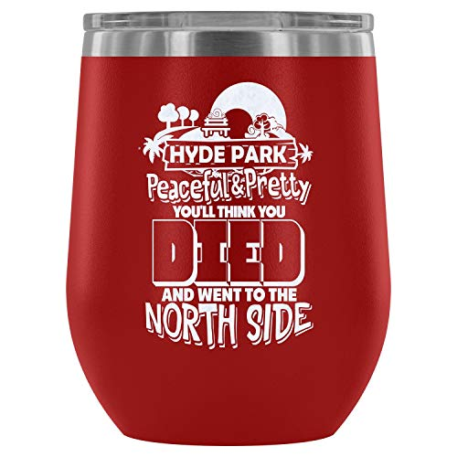 Steel Stemless Wine Glass Tumbler, The City Vacuum Insulated Wine Tumbler, Hyde Park Peaceful And Pretty Wine Tumbler (Wine Tumbler 12Oz - Red) ()